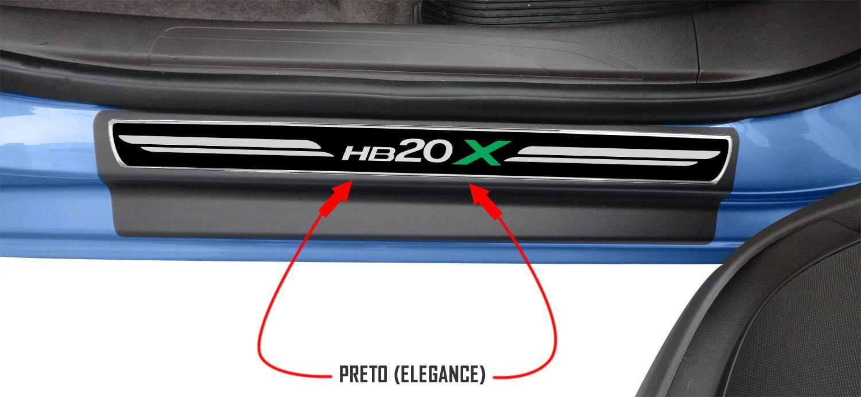 Jg Soleira Hb20X 4p Preto Elegance Aço Escovado