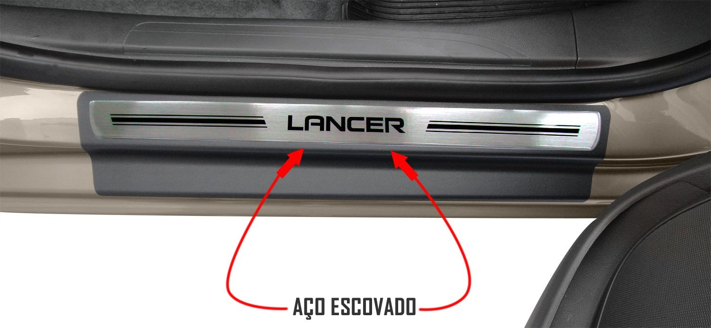 Jg Soleira Lancer 4p Aço Escovado Preto Elegance