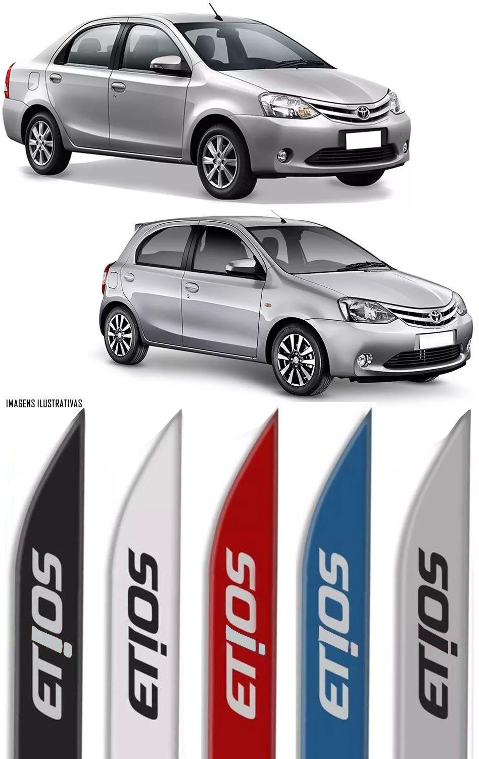 Jogo Friso Lateral Pintado Toyota Etios Hatch e Sedan 2012 2013 2014 2015 2016 2017 2018 - Cor Original