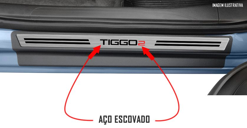 Jogo Soleira Premium Elegance Chery Tiggo 2 2017 2018 2019 2020 2021 2022 - 4 Portas ( Vinil + Resinada 8 Peças )