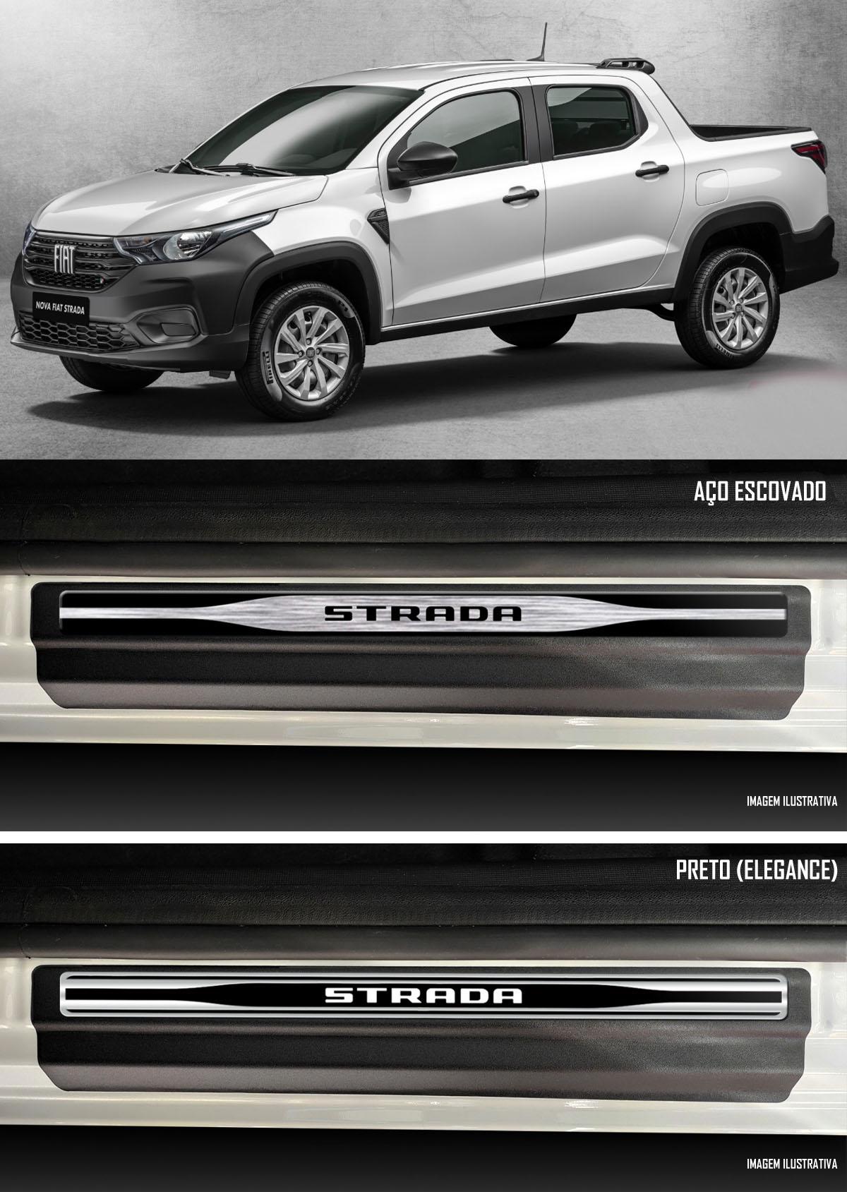 Jogo Soleira Premium Elegance Fiat Strada 2020 2021 2022 Cabine Dupla - 4 Portas ( Vinil + Resinada 10 Peças )