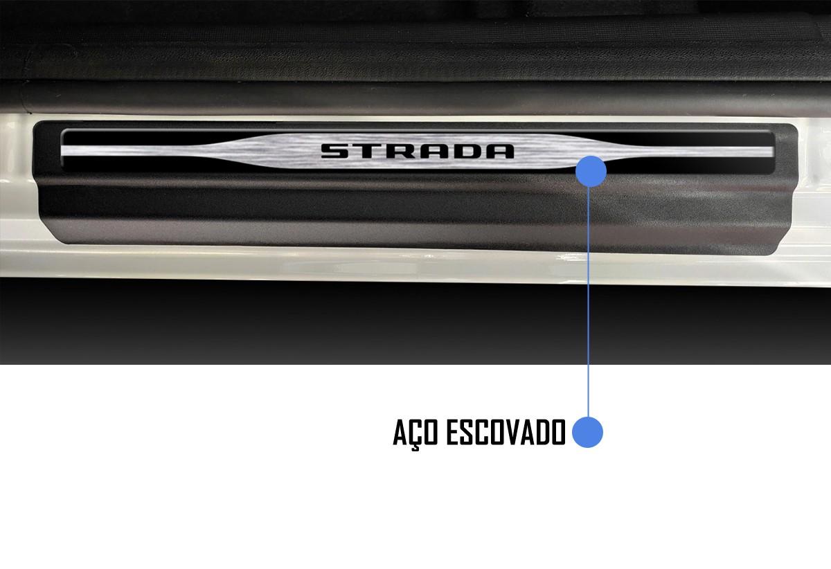 Jogo Soleira Premium Elegance Fiat Strada 2020 2021 2022 Cabine Simples - 2 Portas ( Vinil + Resinada 8 Peças )