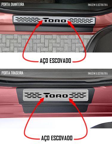 Jogo Soleira Premium Elegance Fiat Toro 2016 2017 2018 2019 2020 2021 2022- 4 Portas ( Vinil + Resinada 8 Peças )