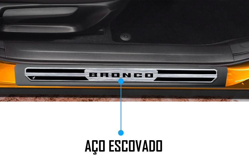 Jogo Soleira Premium Elegance Ford Bronco - 4 Portas ( Vinil + Resinada 8 Peças )