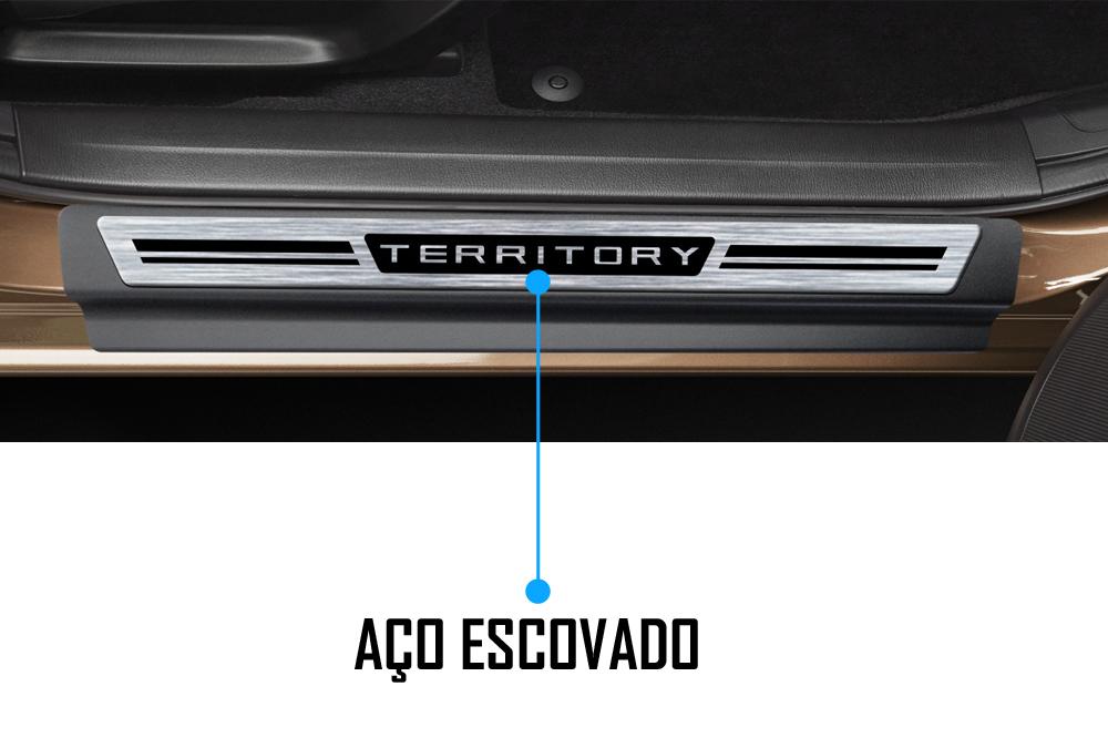 Jogo Soleira Premium Elegance Ford Territory - 4 Portas ( Vinil + Resinada 8 Peças )