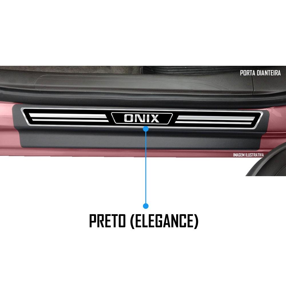 Jogo Soleira Premium Elegance Gm Onix e Onix Plus 2020 2021 2022 - 4 Portas ( Vinil + Resinada 8 Peças )
