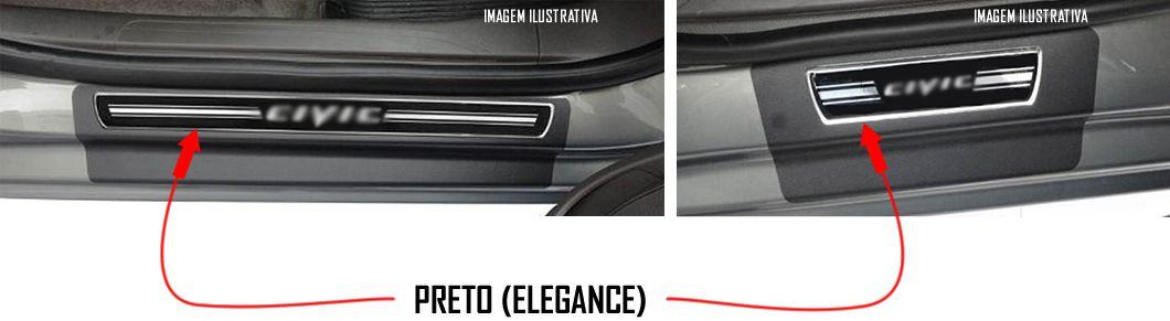 Jogo Soleira Premium Elegance Honda New Civic 2007 2008 2009 2010 2011 2012 2013 2014 2015 - 4 Portas ( Vinil + Resinada 8 Peças )