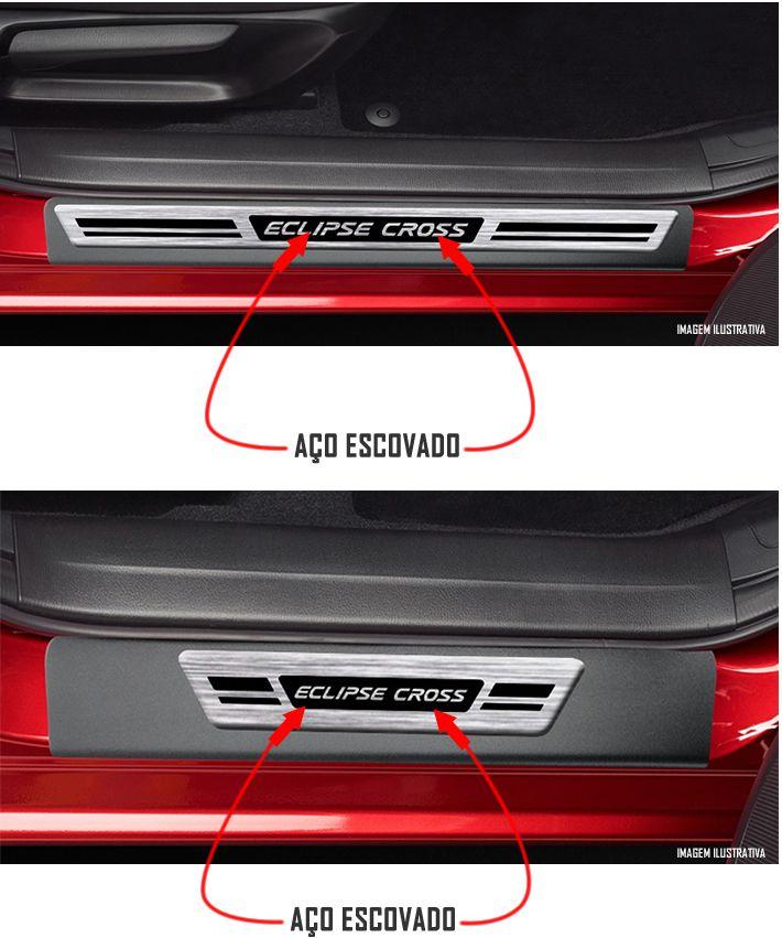 Jogo Soleira Premium Elegance Mitsubishi Eclipse Cross 2019 2020 2021 2022 - 4 Portas ( Vinil + Resinada 8 Peças )