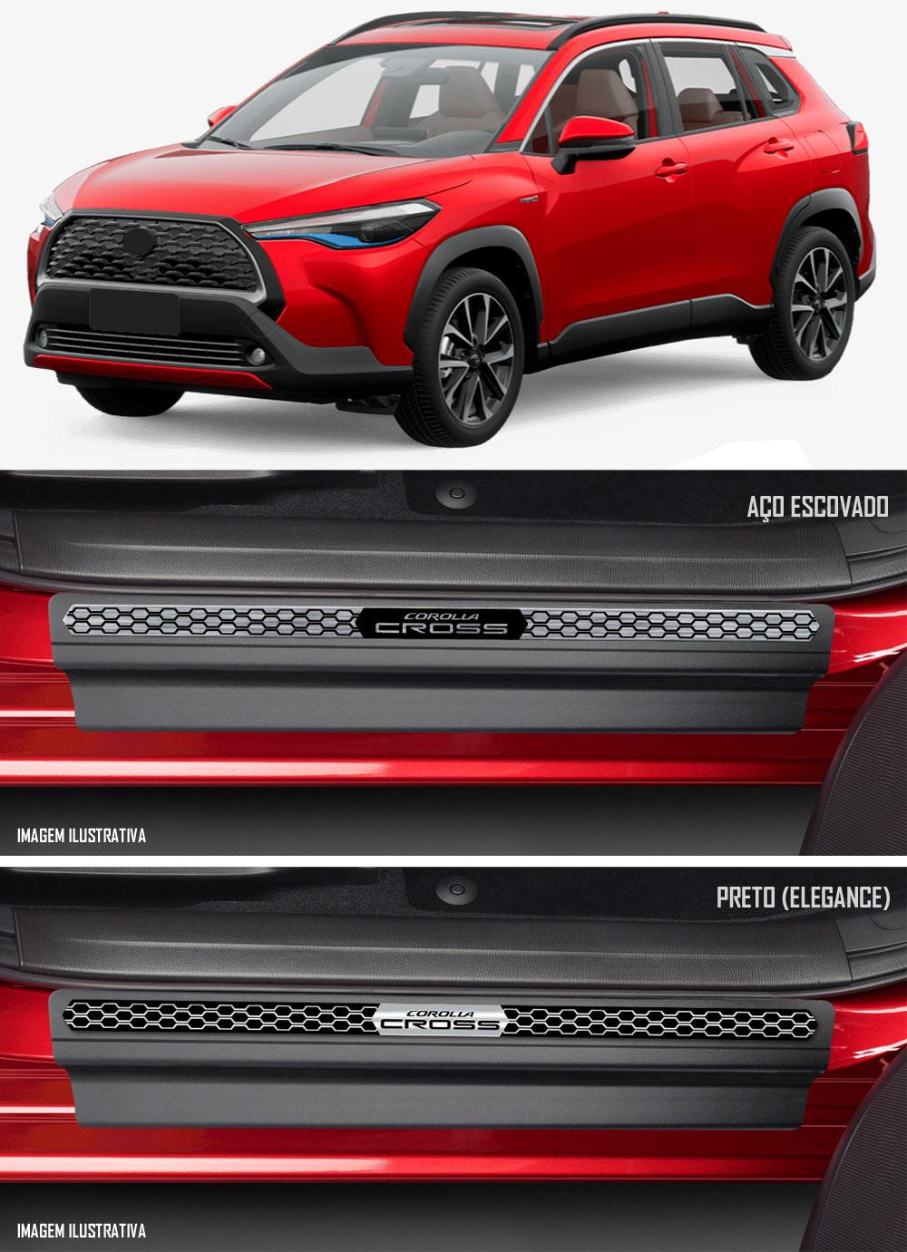 Jogo Soleira Premium Elegance Toyota Corolla Cross - 4 Portas ( Vinil + Resinada 8 Peças )
