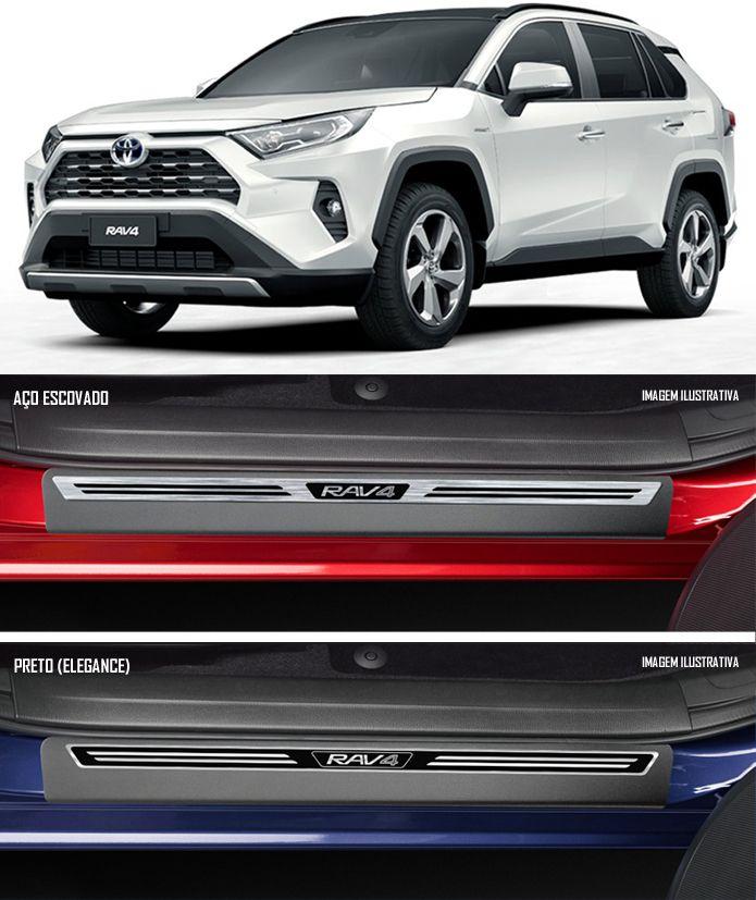 Jogo Soleira Premium Elegance Toyota Rav4 2020 2021 2022 - 4 Portas ( Vinil + Resinada 8 Peças )
