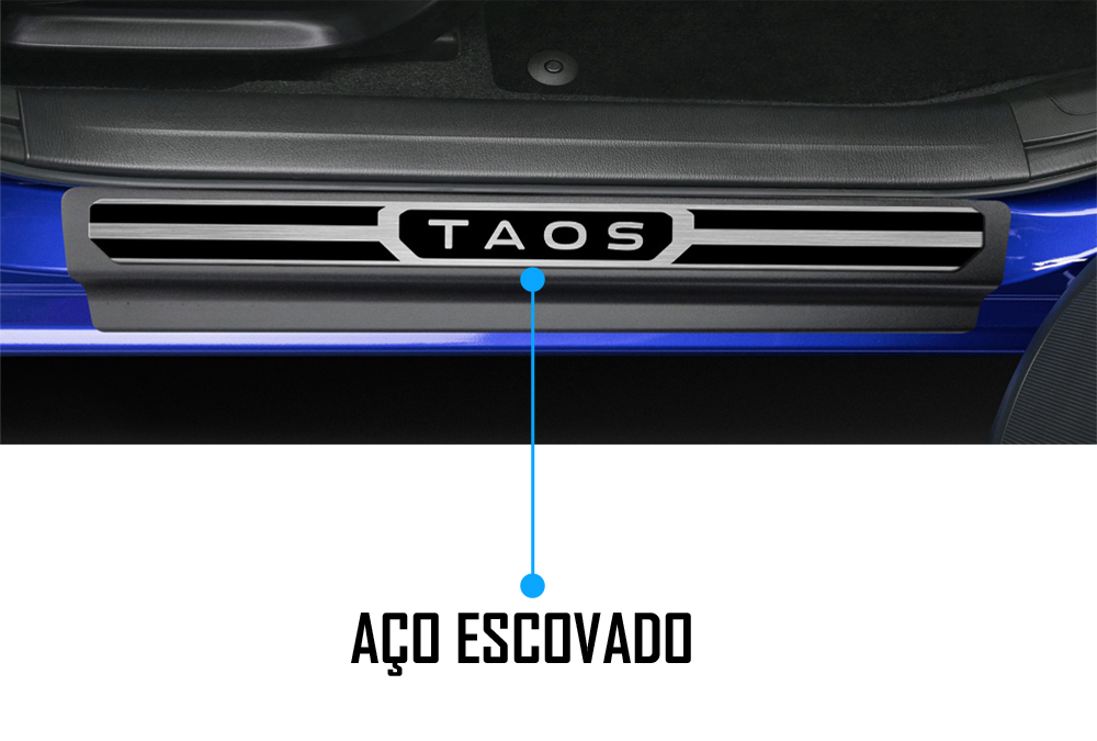 Jogo Soleira Premium Elegance Vw Taos - 4 Portas ( Vinil + Resinada 8 Peças )