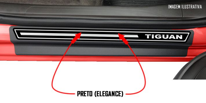 Jogo Soleira Premium Elegance Vw Tiguan - 4 Portas ( Vinil + Resinada 8 Peças )