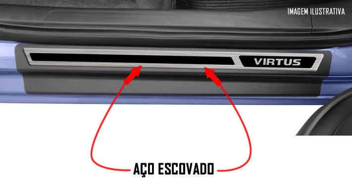 Jogo Soleira Premium Elegance Vw Virtus - 4 Portas ( Vinil + Resinada 8 Peças )