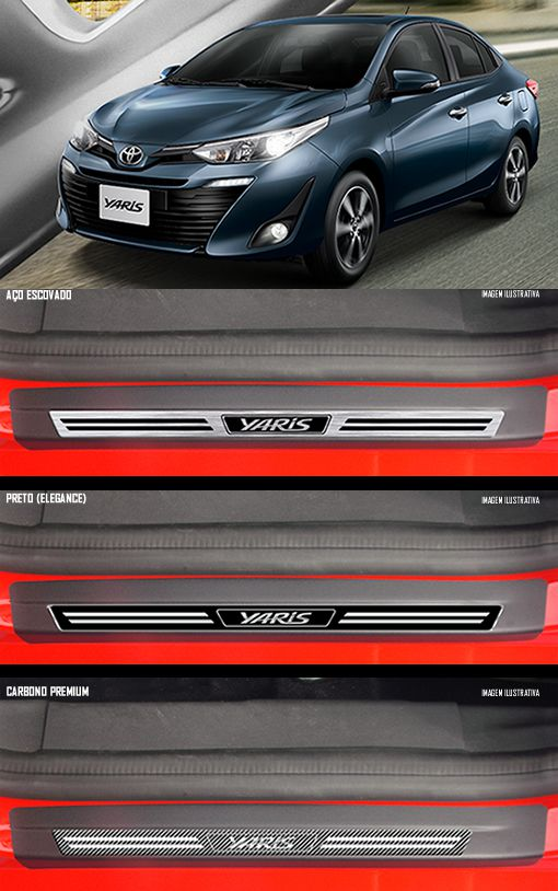 Jogo Soleira Premium Elegance Toyota Yaris 2018 2019 2020 2021 2022 - 4 Portas ( Vinil + Resinada 8 Peças )