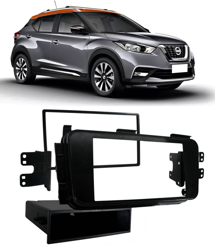 Kit Combo Central Multimídia+ Moldura de Painel 2 Din + Câmera de Ré Nissan Kicks Versão S