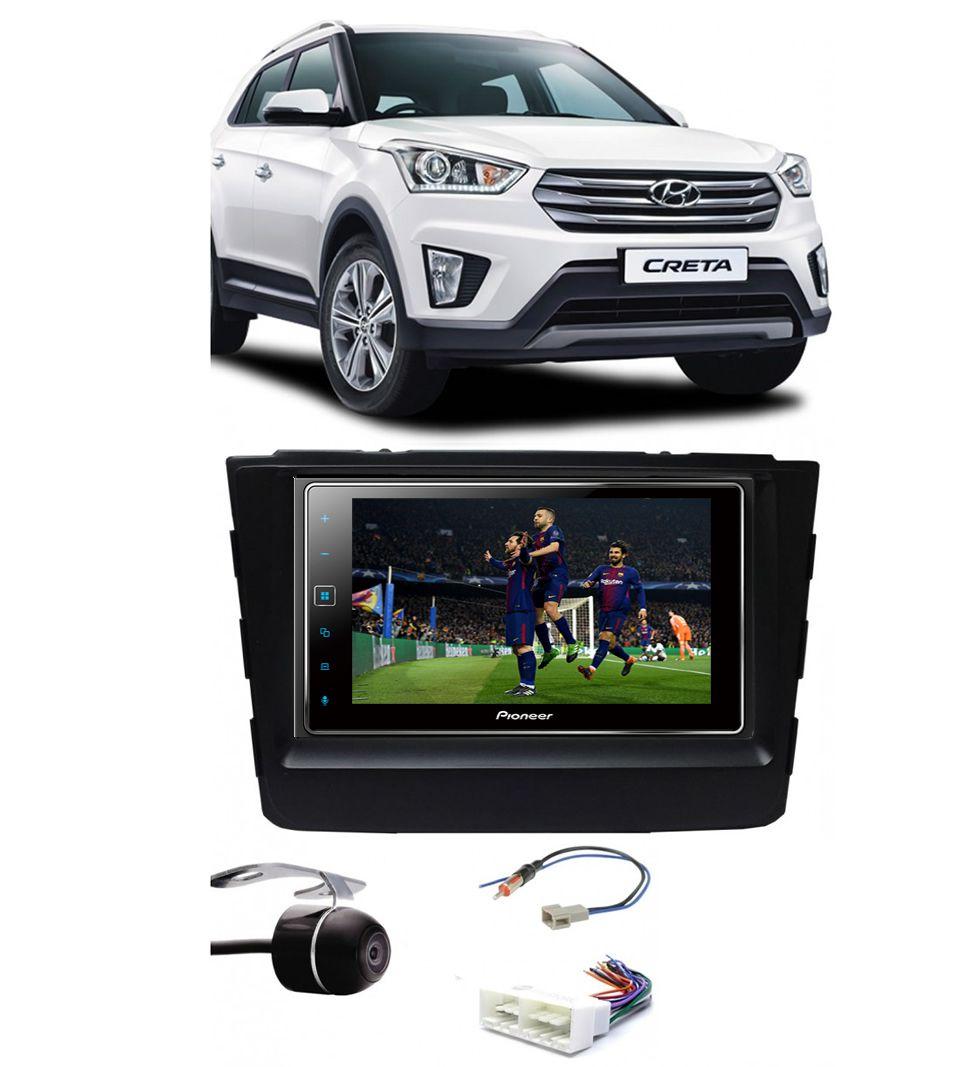 Kit Combo DVD Pioneer SPH-DA138TV + Moldura de Painel 2 Din + Chicote C/ Adaptador de Antena + Câmera de Ré Hyundai Creta 2017