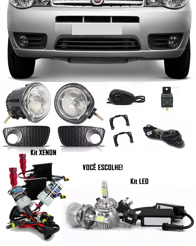 Kit Farol de Milha Neblina Fiat Palio e Siena - Economy 2010 / 2011 / 2012 Com Moldura Aro Cromo + + Kit Xenon 6000K / 8000K ou Kit Lâmpada Super LED 6000K