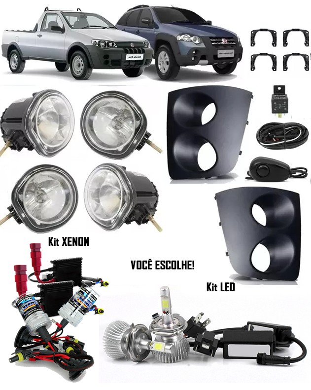 Kit Farol de Milha Neblina Fiat Palio Weekend Adventure Strada Fire 2005 à 2012 +  2 Kits Xenon 6000K / 8000K ou Kit Lâmpada Super