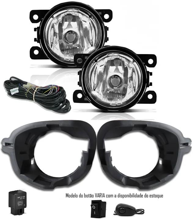 Kit Farol de Milha Neblina Renault Clio 2013 2014 2015 2016 + Base Para Fixação - Interruptor Alternativo + Kit Xenon 6000K / 8000K ou Kit Lâmpada Super LED 6000K