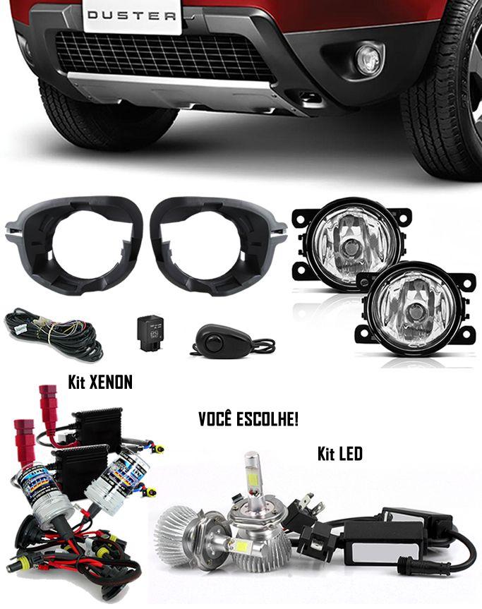 Kit Farol de Milha Neblina Renault Duster 2013 2014 2015 2016 2017 2018 2019 + Base Para Fixação - Interruptor Alternativo + Kit Xenon 6000K / 8000K ou Kit Lâmpada Super LED 6000K