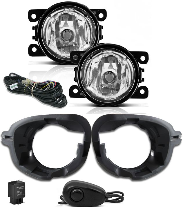 Kit Farol de Milha Neblina Renault Oroch + Base Para Fixação - Interruptor Alternativo + Kit Xenon 6000K / 8000K ou Kit Lâmpada Super LED 6000K
