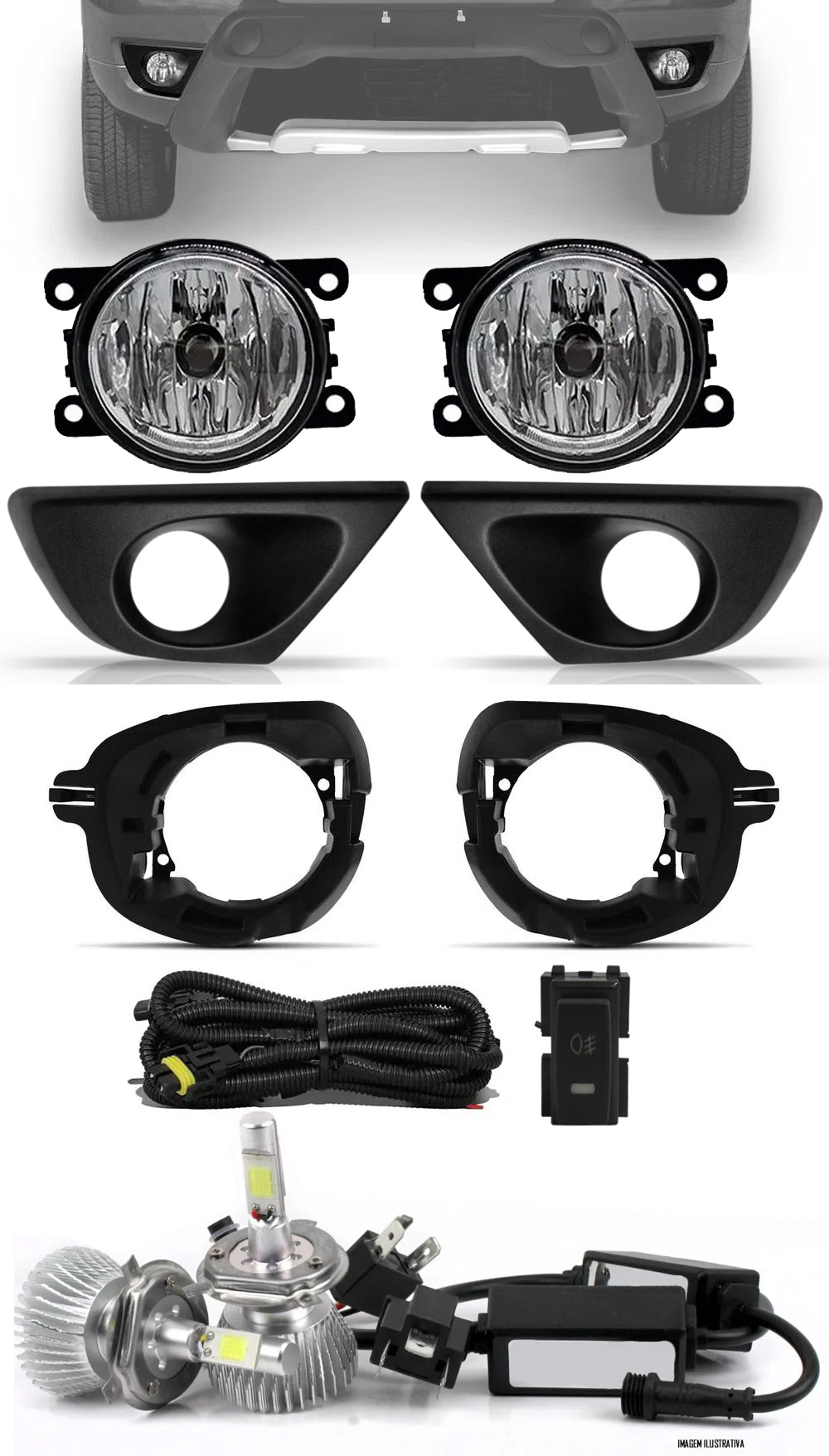 Kit Farol de Milha  Renault Duster 2015 á 2019 + Moldura e Base Para Fixação - Botão Painel + Kit Lâmpada Super LED 6000K