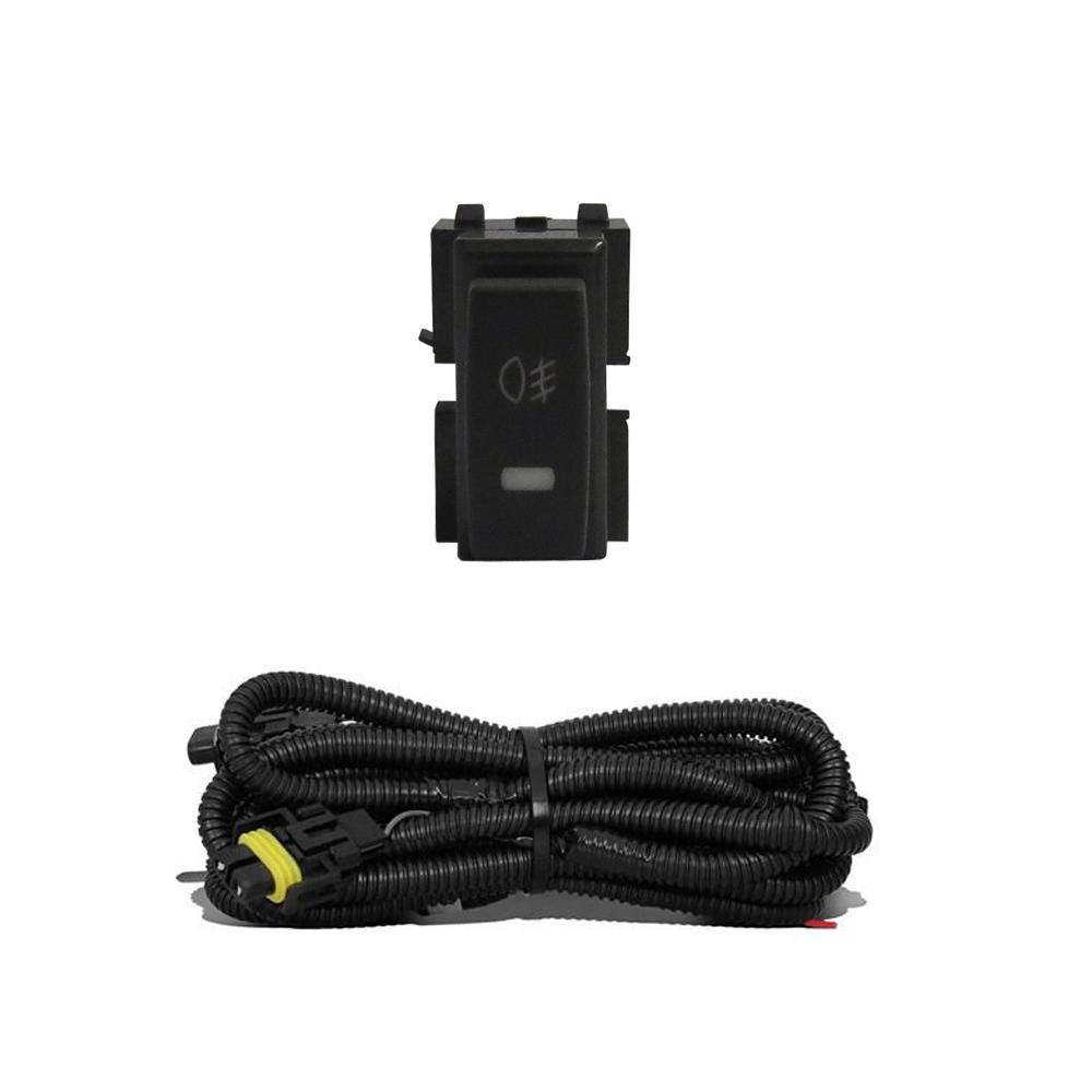 Kit Farol de Milha Renault Oroch + Moldura e Base Para Fixação - Botão Painel + Kit Lâmpada Super LED 6000K