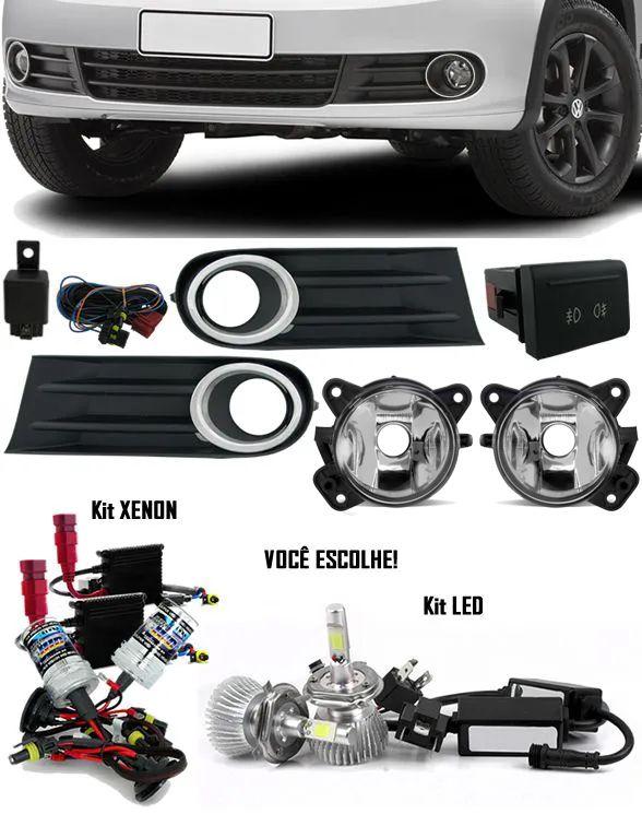 Kit Farol Milha Neblina Vw Gol Voyage Saveiro G5 2009 à 2013 + Kit Xenon 6000K 8000K ou Kit Lâmpada Super LED 6000K