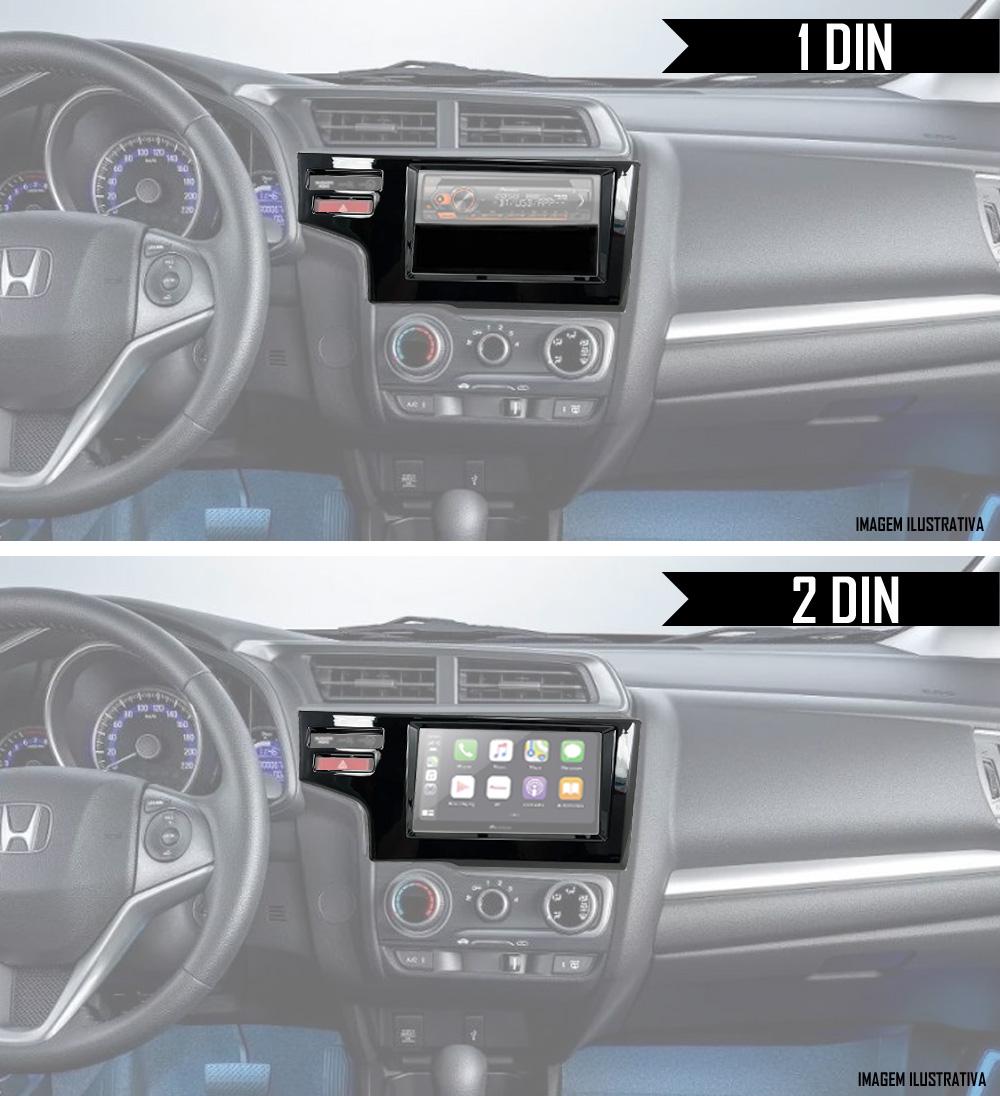 Moldura De Painel 1 Din e 2 Din Honda WR-V Para Cd Dvd - Black Piano