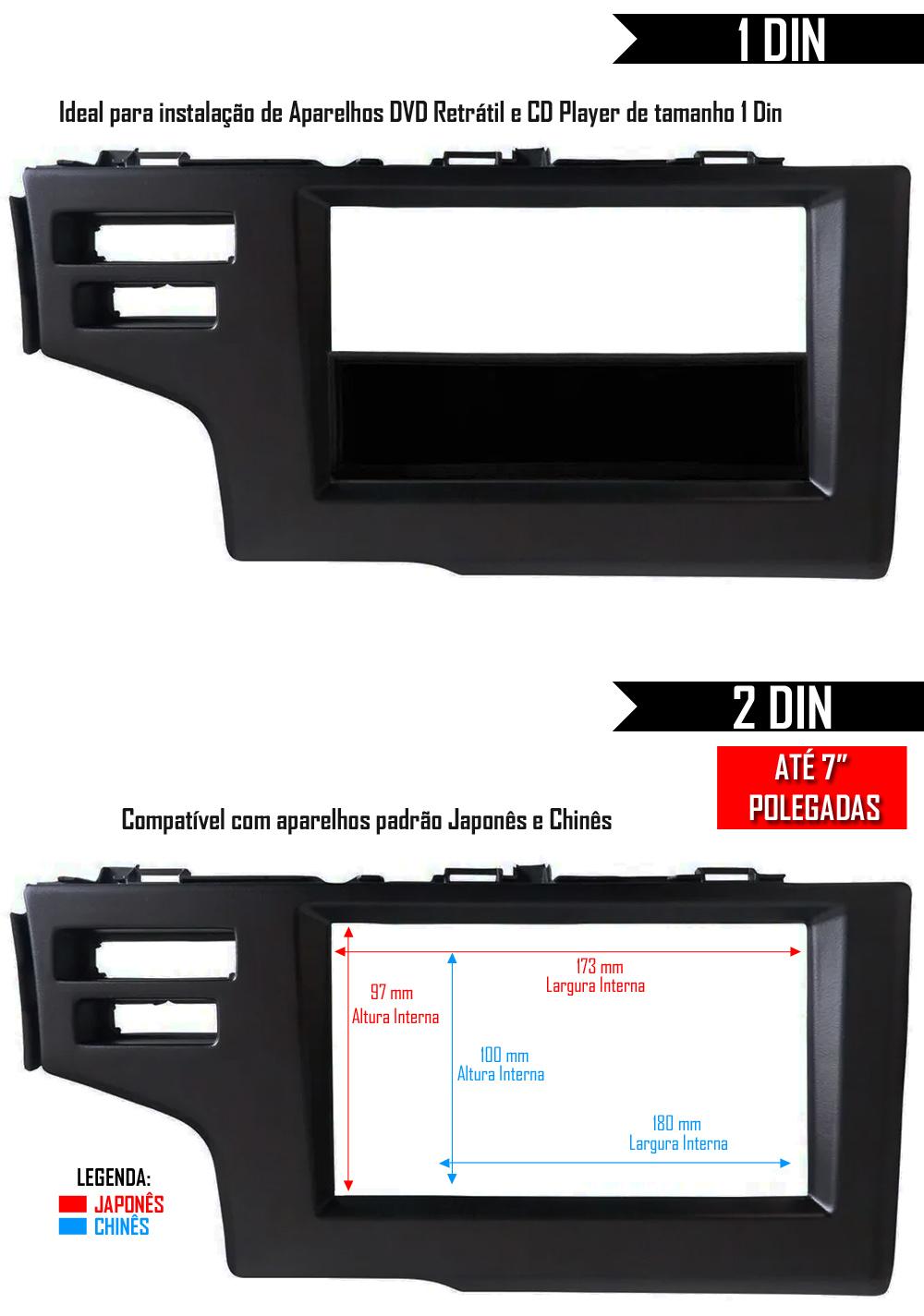 Moldura De Painel 1 Din e 2 Din Honda WR-V Para Cd Dvd - Preto
