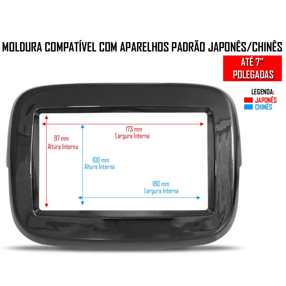"Moldura De Painel 2 Din 7"" Polegadas Fiat Mobi Para CD DVD 2 Dins - BLACK PIANO"