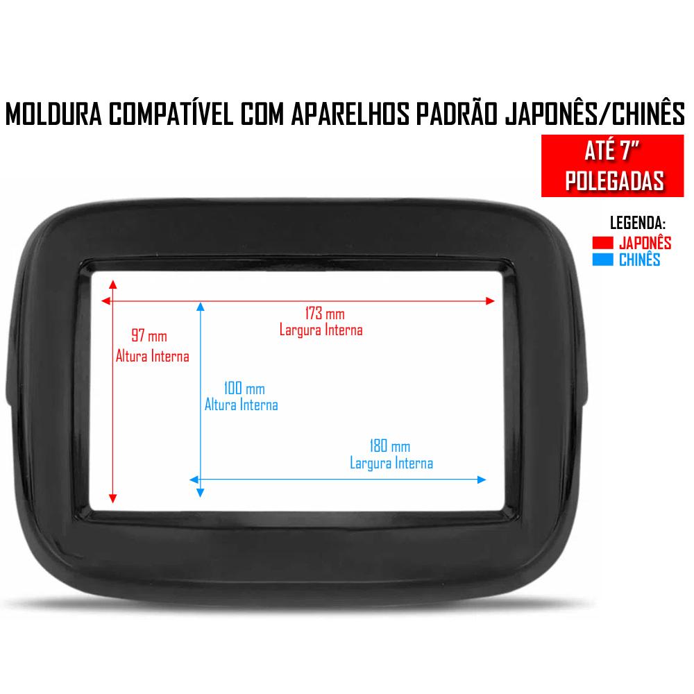 """Moldura De Painel 2 Din 7"""" Polegadas Fiat Mobi Para CD DVD 2 Dins - PRETO"""