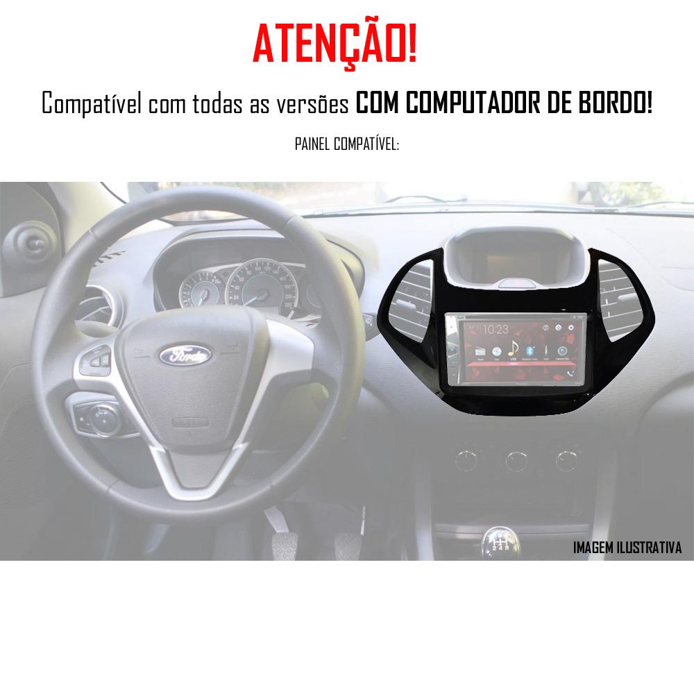 """Moldura de Painel 2 Din 7"""" Polegadas Ford Ka Hatch e Sedan 2015 2016 2017 2018 Com Computador Bordo - Black Piano"""