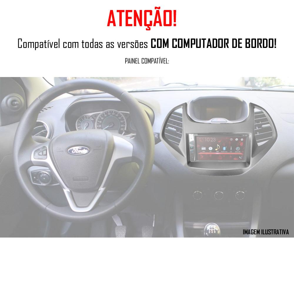 """Moldura de Painel 2 Din 7"""" Polegadas Ford Ka Hatch e Sedan 2015 2016 2017 2018 Com Computador Bordo - Prata"""