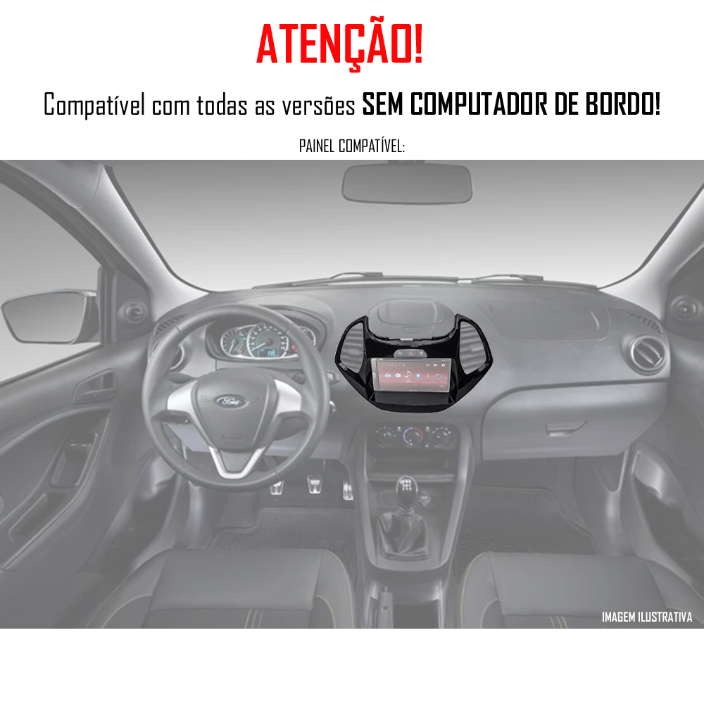 """Moldura de Painel 2 Din 7"""" Polegadas Ford Ka Hatch e Sedan 2015 2016 2017 2018 Sem Computador Bordo - Black Piano"""