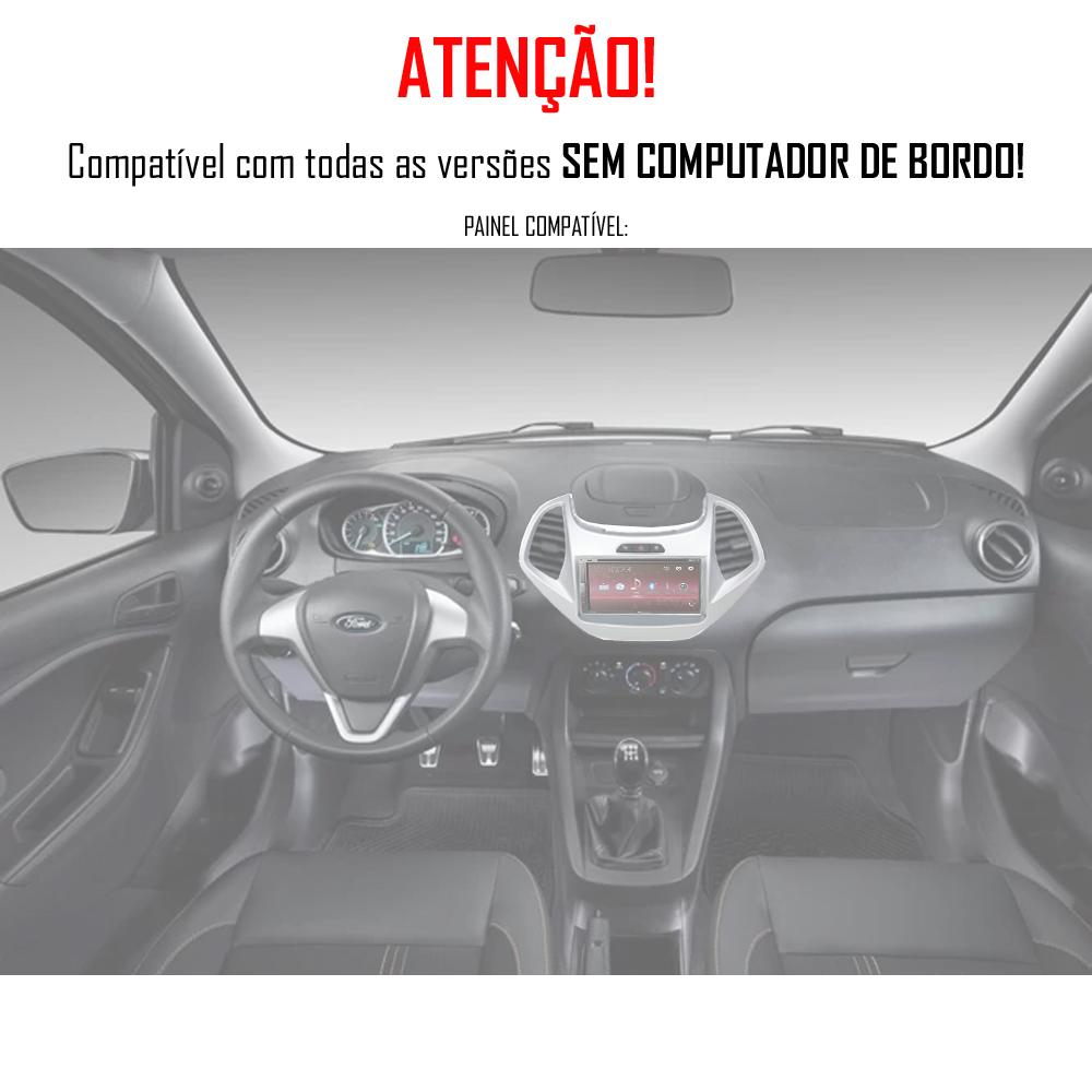 """Moldura de Painel 2 Din 7"""" Polegadas Ford Ka Hatch e Sedan 2015 2016 2017 2018 Sem Computador Bordo - Prata"""