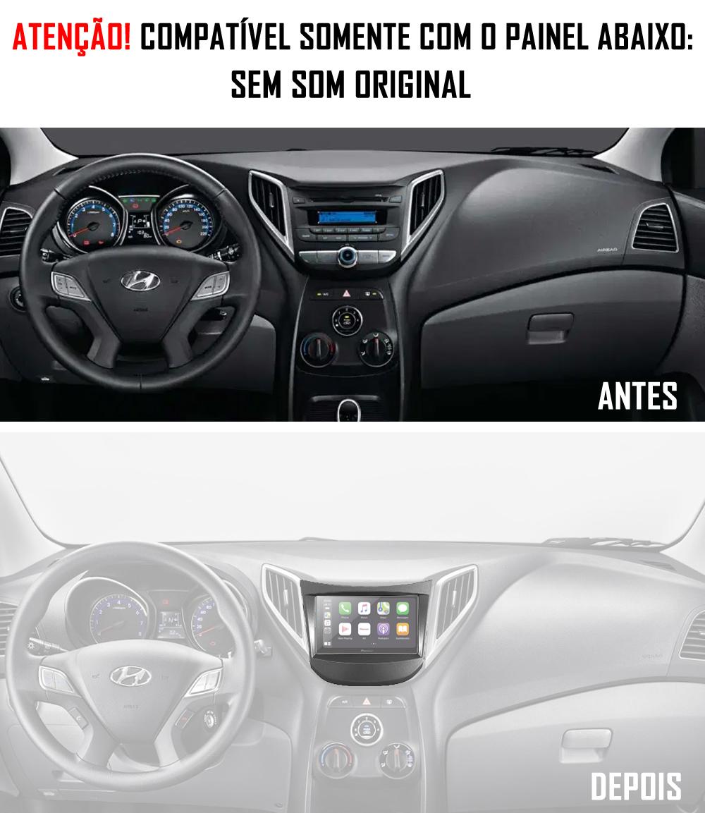 """Moldura de Painel 2 Din 7"""" Polegadas Hyundai HB20 Sem Som De Fábrica Cinza"""