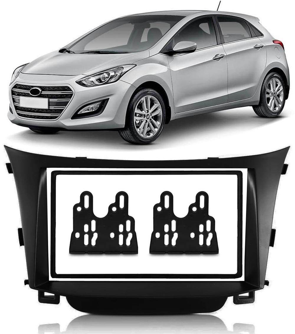 """Moldura de Painel 2 Din 7"""" Polegadas Hyundai I30 2° Geração 2013 2014 2015 2016 - Preto"""