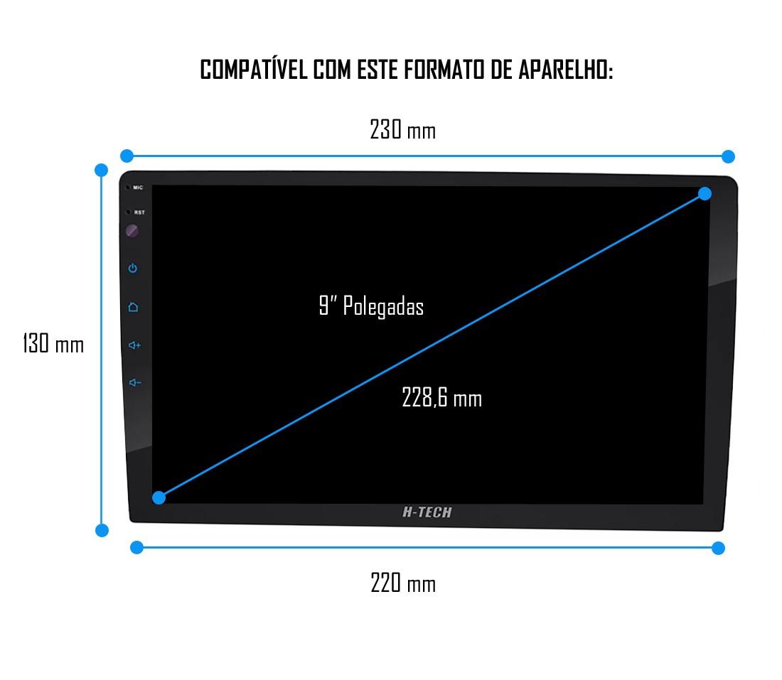 """Moldura De Painel 2 Din 9"""" Polegadas Hyundai HB20 2020 2021 2022 Black Piano"""