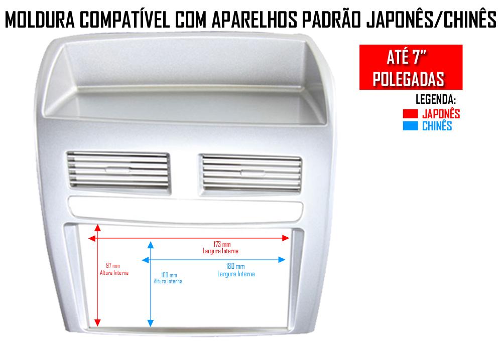 Moldura De Painel 2 Din Fiat Linea 2008 2009 2010 2011 2012 2013 2014 - Prata