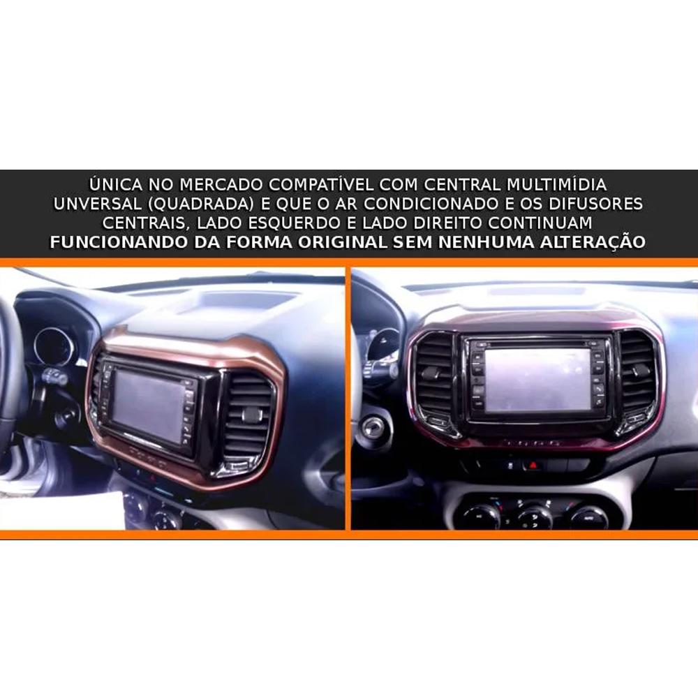 Moldura De Painel 2 Din Fiat Toro Para Cd Dvd 2 Dins - Preto Fosco
