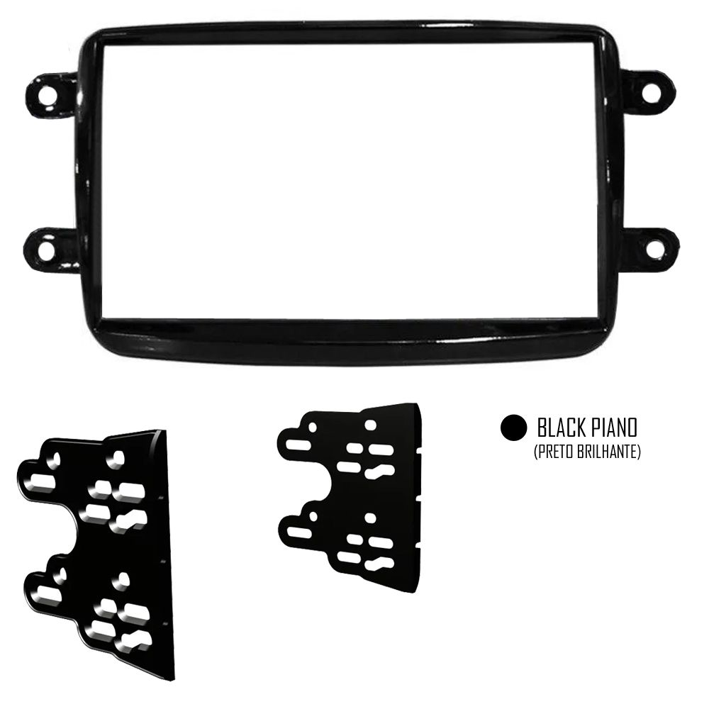 Moldura De Painel Para CD DVD 2 Din Renault Duster - Black Piano