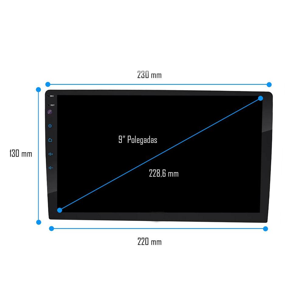 """Multimídia 9"""" Polegadas Nova Strada 2020 2021 2022 Espelhamento USB Bluetooth + Moldura Painel Black Piano + Câmera de Ré + Chicotes e Adaptador de Antena"""