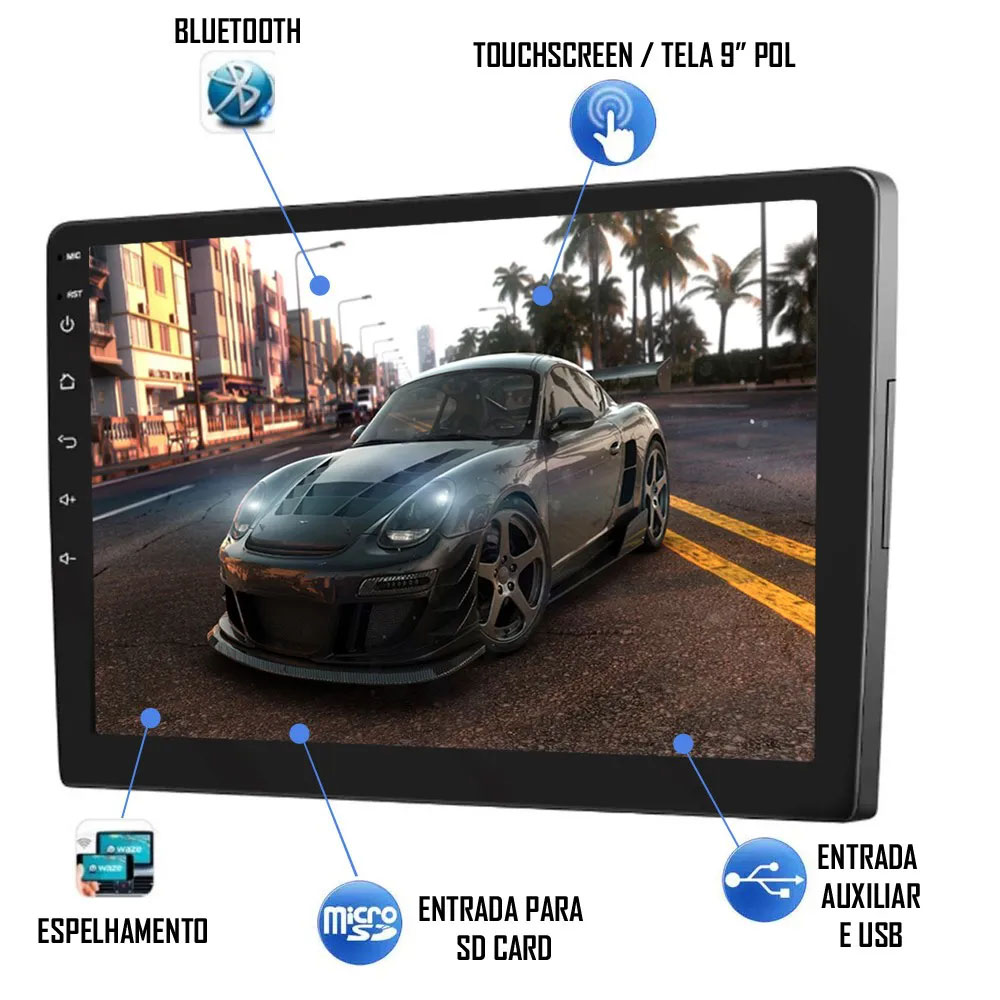 """Multimídia 9"""" Polegadas Nova Strada 2020 2021 2022 Espelhamento USB Bluetooth + Moldura Painel Preto + Câmera de Ré + Chicotes e Adaptador de Antena"""