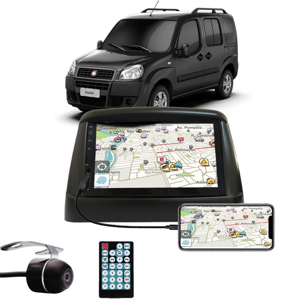 Multimídia Fiat Doblo Espelhamento Bluetooth USB SD Card + Moldura + Câmera Borboleta