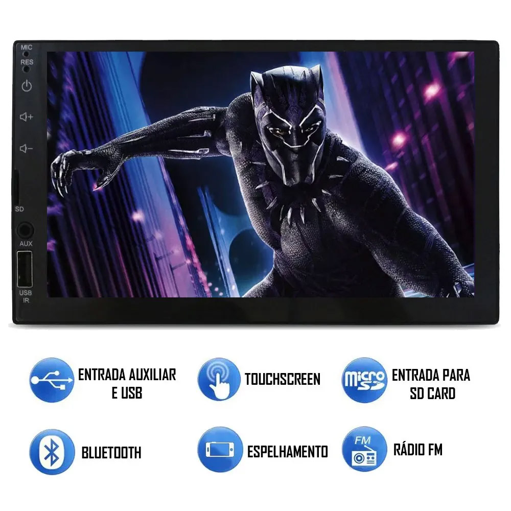 Multimídia Fiat Idea 2013 2014 2015 2016 2017 2018 Espelhamento Bluetooth USB SD Card + Moldura + Câmera Borboleta