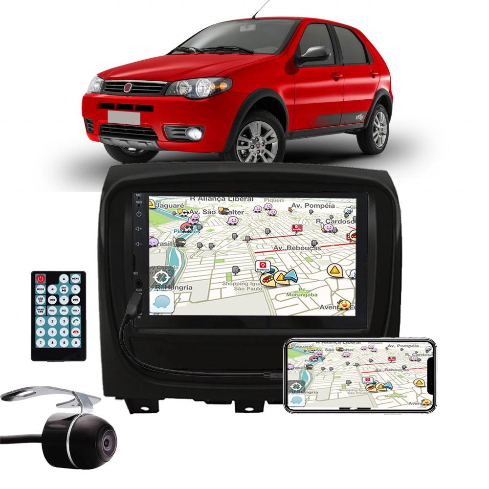 Multimídia Fiat Palio Fire Way 2014 2015 2016 2017 Espelhamento Bluetooth USB SD Card + Moldura + Câmera Borboleta
