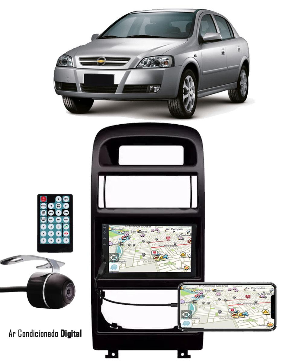 Multimídia GM Astra Hatch/Sedan 1998 até 2013 Espelhamento Bluetooth USB SD Card + Moldura + Câmera Borboleta