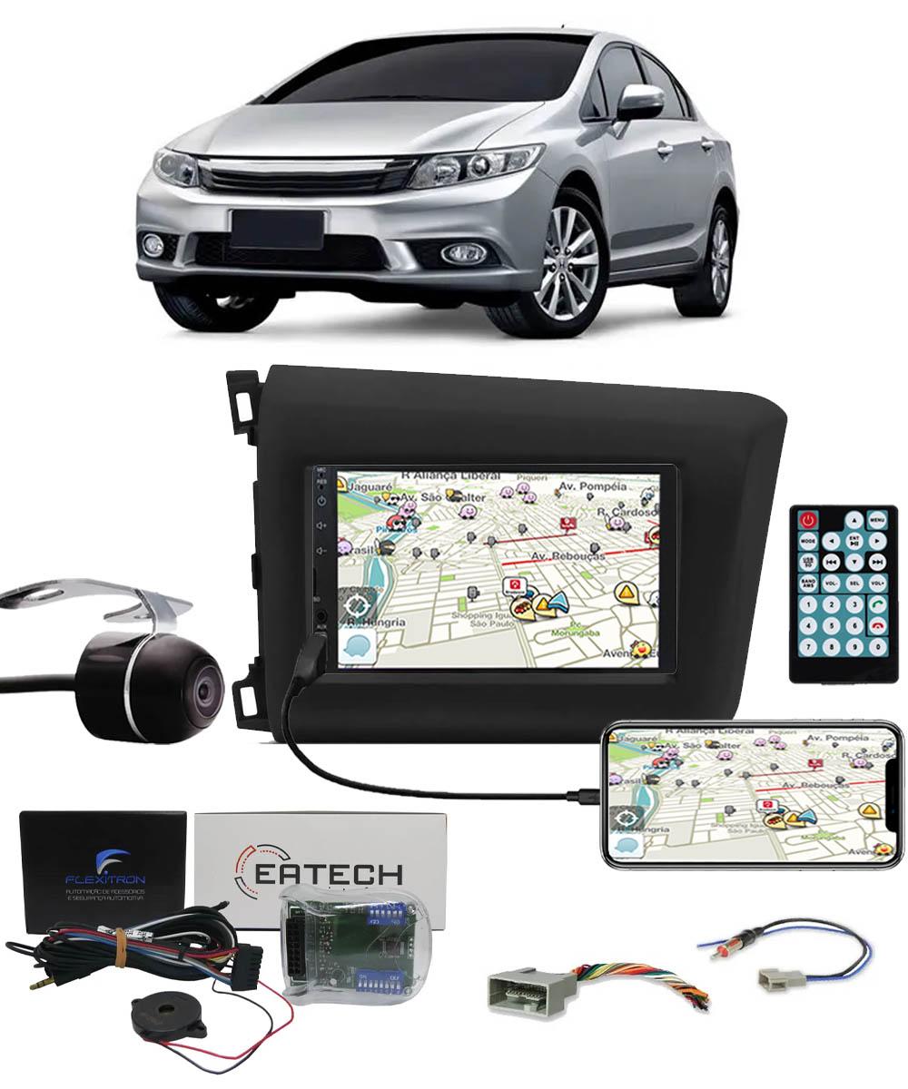 Multimídia Honda Civic 2012 2013 2014 2015 2016 Espelhamento Bluetooth USB SD Card + Moldura + Câmera Borboleta + Chicote + Adaptador de Antena + Interface de Volante