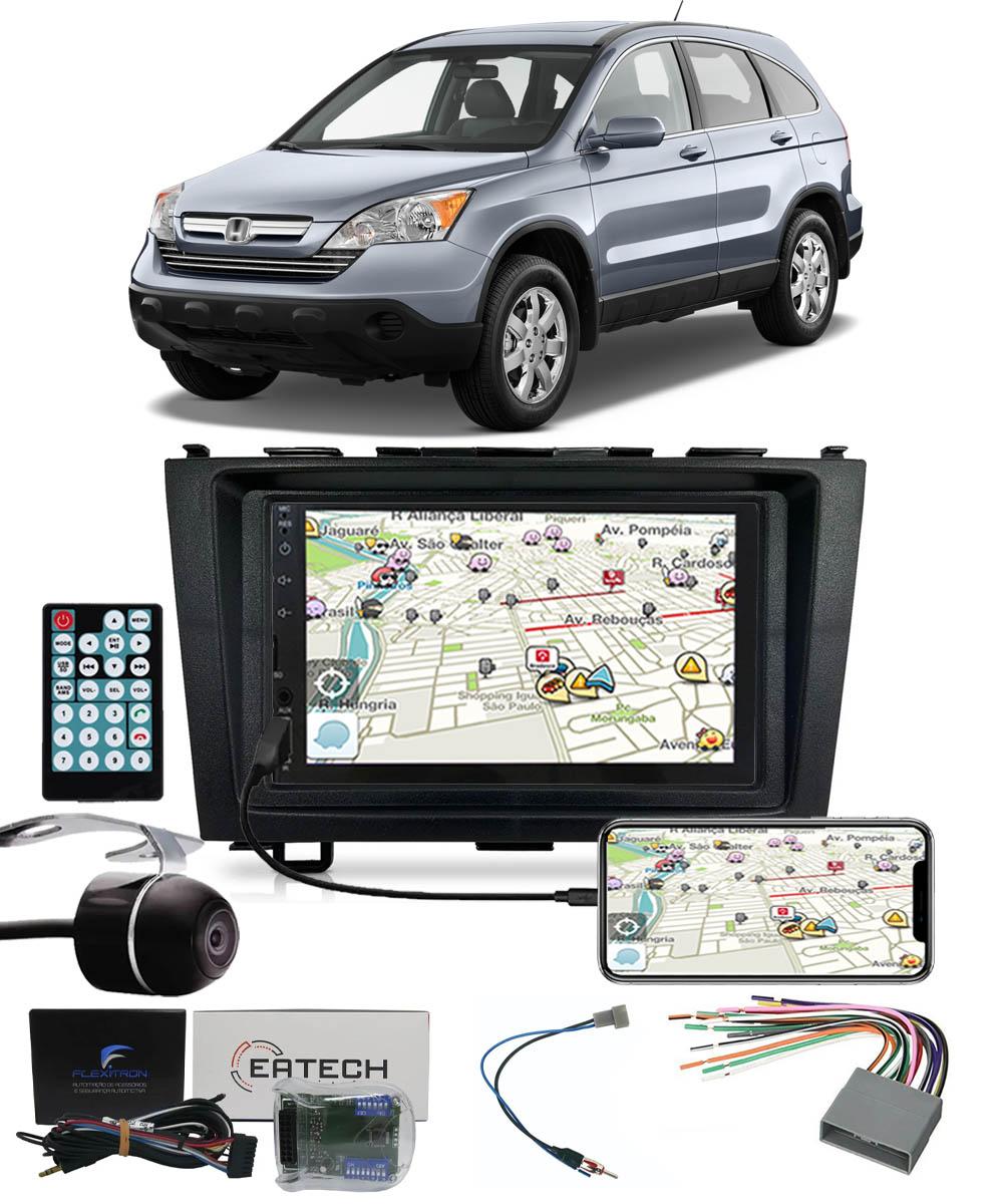 Multimídia Honda CRV 2007 2008 2009 2010 2011 Espelhamento Bluetooth USB SD Card + Moldura + Câmera Borboleta + Chicote + Adaptador de Antena + Interface de Volante